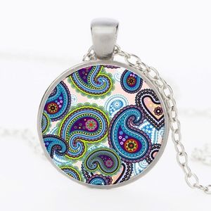 Jewelry - Art Deco Colorful Glass Cabochon Silver Necklace